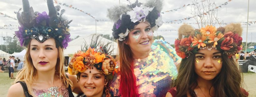 Four festival girls wearing Headspace Headdresses floral crowns and headpieces