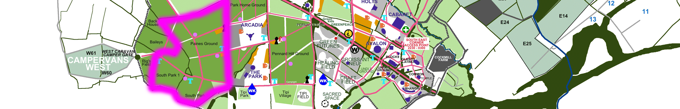 Paines Ground Glastonbury official map segment camping grounds stages campervan fields