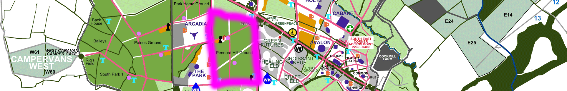 Pennard Hill Ground Glastonbury official map segment camping grounds stages campervan fields