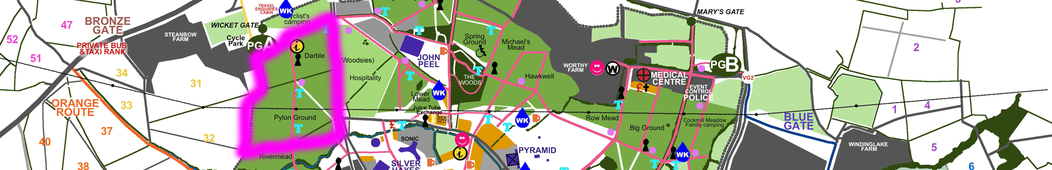Pylon Ground Darble Glastonbury official map segment camping grounds stages campervan fields