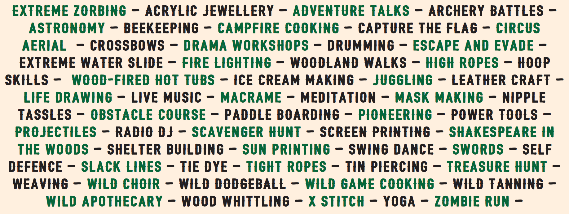 List of wildfire camp activities
