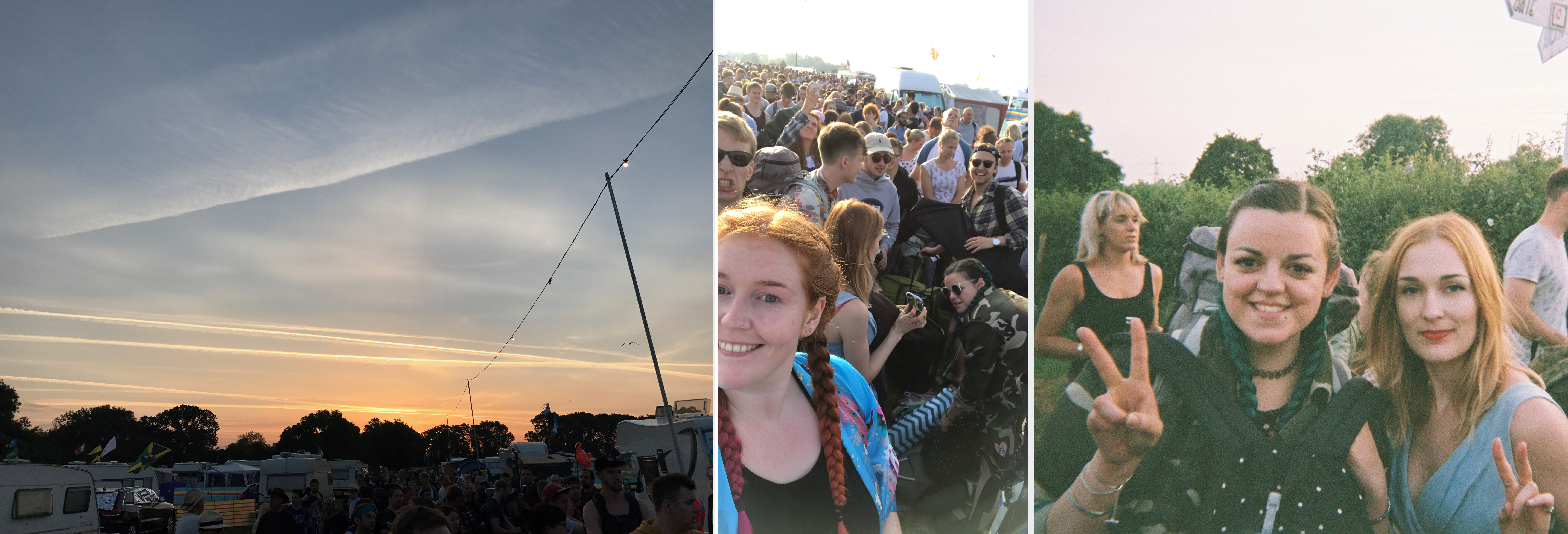 Waiting in the queue watching the sunrise on the first morning of Glastonbury