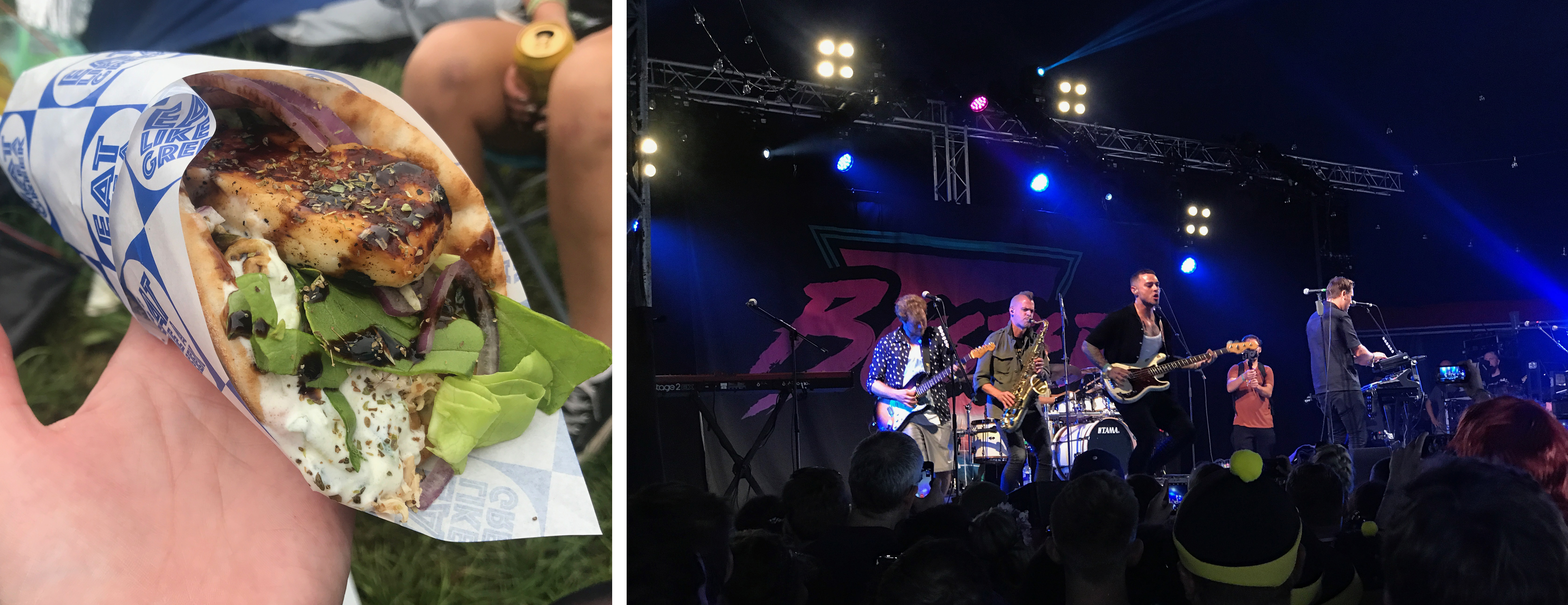 Eat Like a Greek chicken and halloumi souvlaki and Busted rocking the Avalon tent