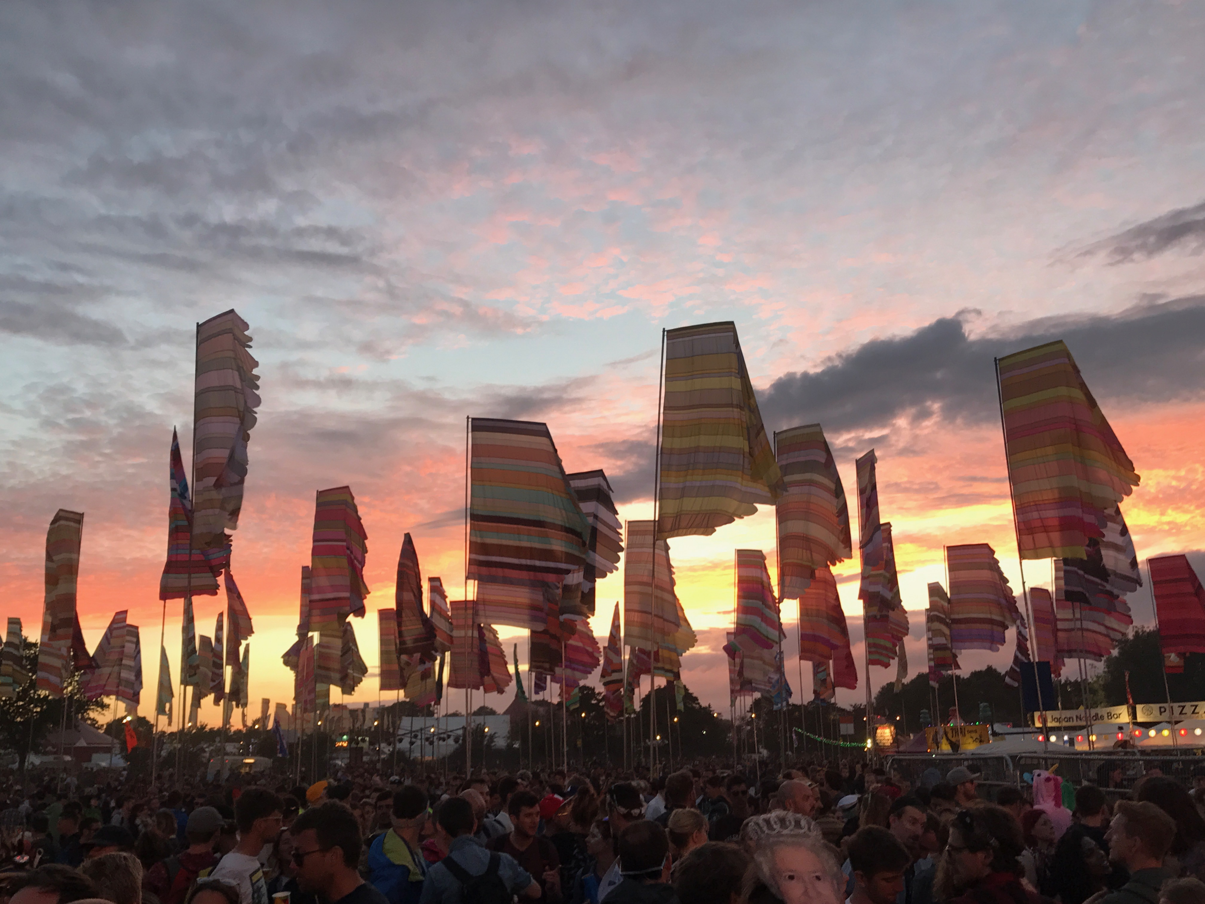 The sun set over West Holts and the flags look majestic in the wind