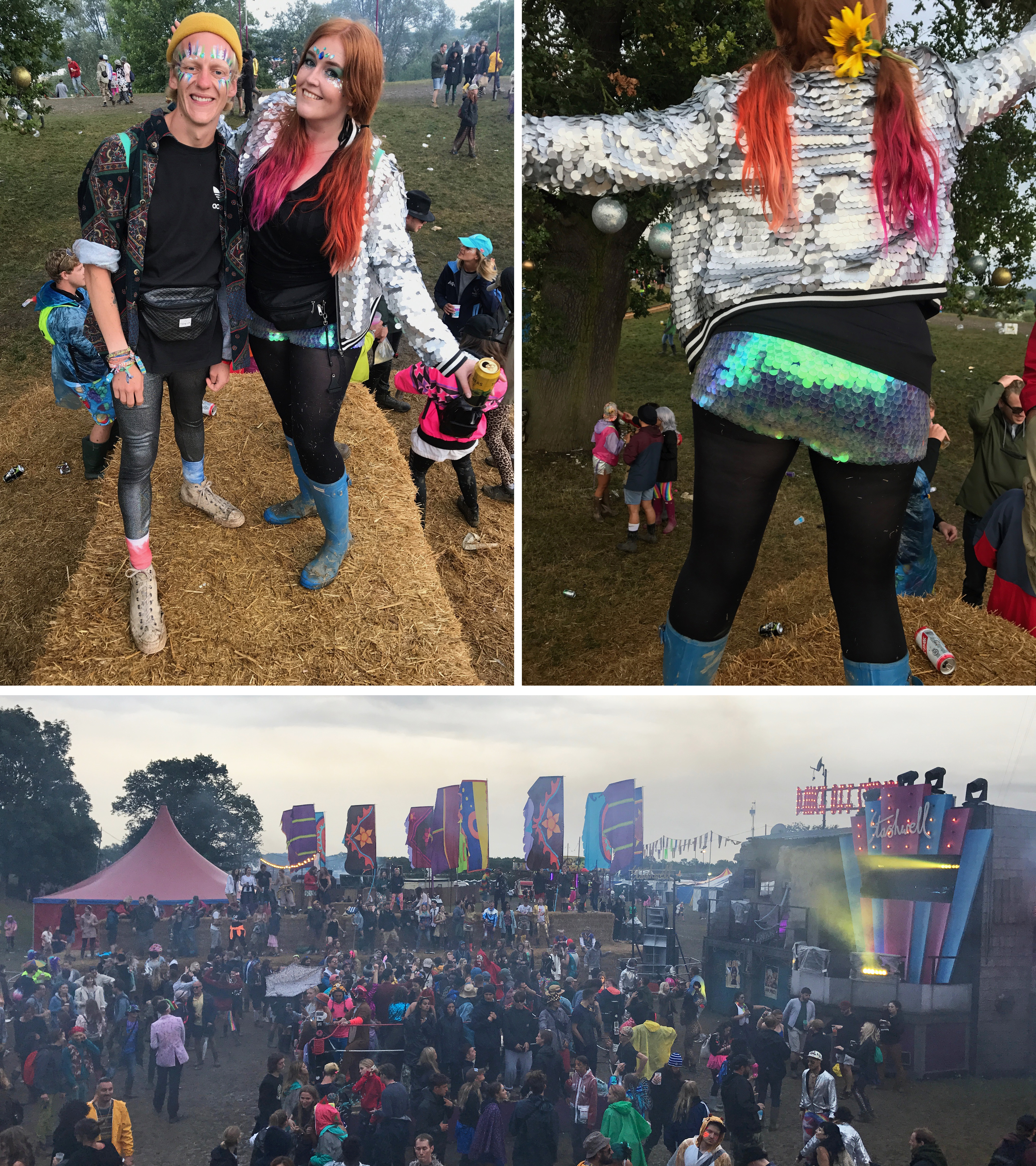 Thom and I on top of the hay bales, me in my Rosa Bloom sequin shorts and the view of the dance off from the bales