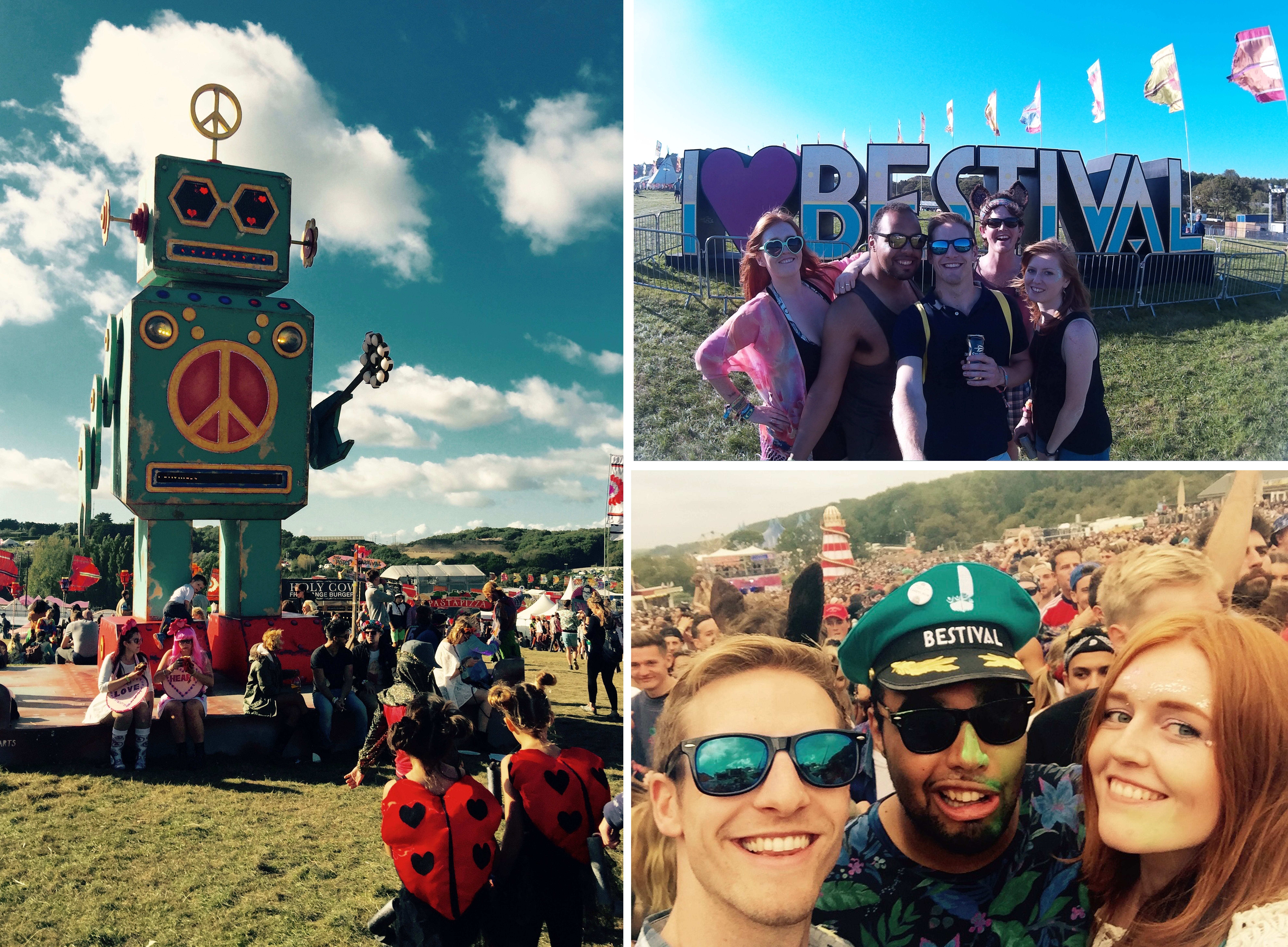 Montage photos giant Bestival sign huge robot peace festival captains hat friends