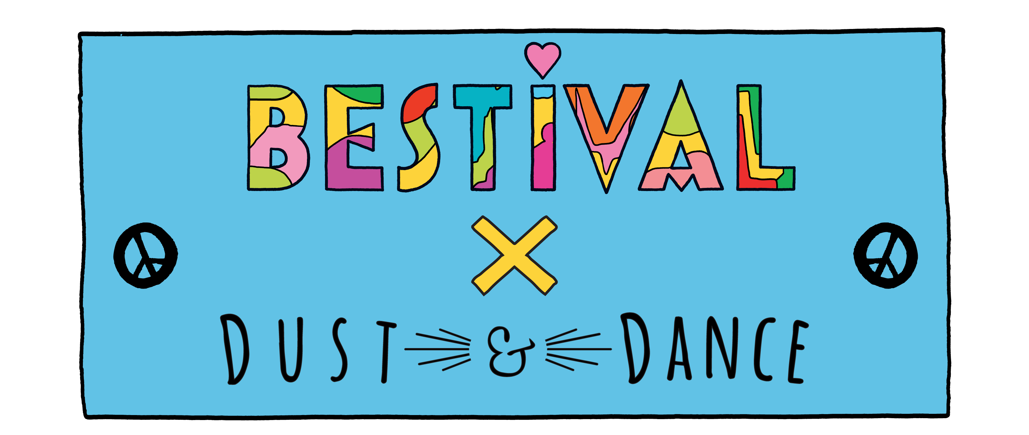 Bestival x Dust and Dance blue stamp logo