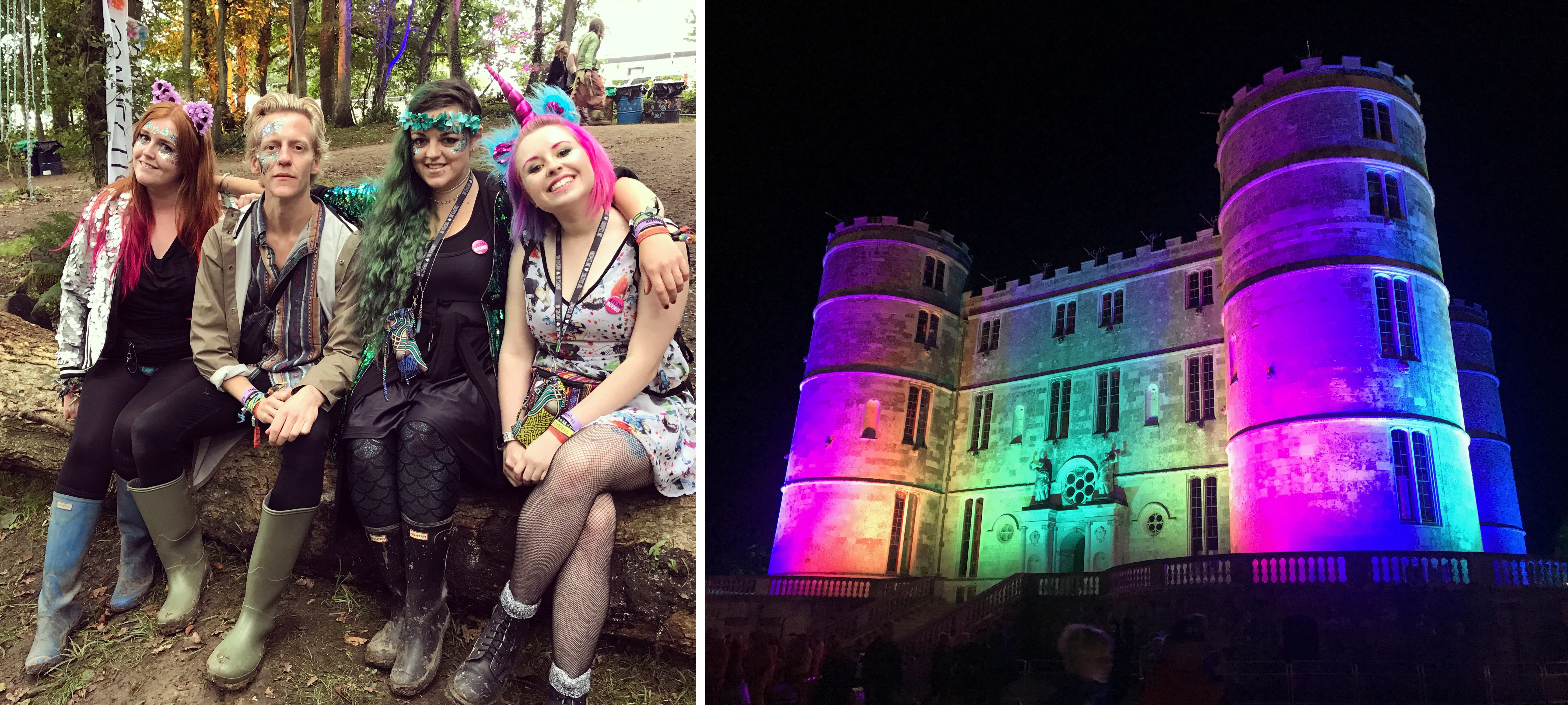 Luisa, Thom, Jodie and I in the Ambient Forest, and the rainbow Lulworth Castle UK festival