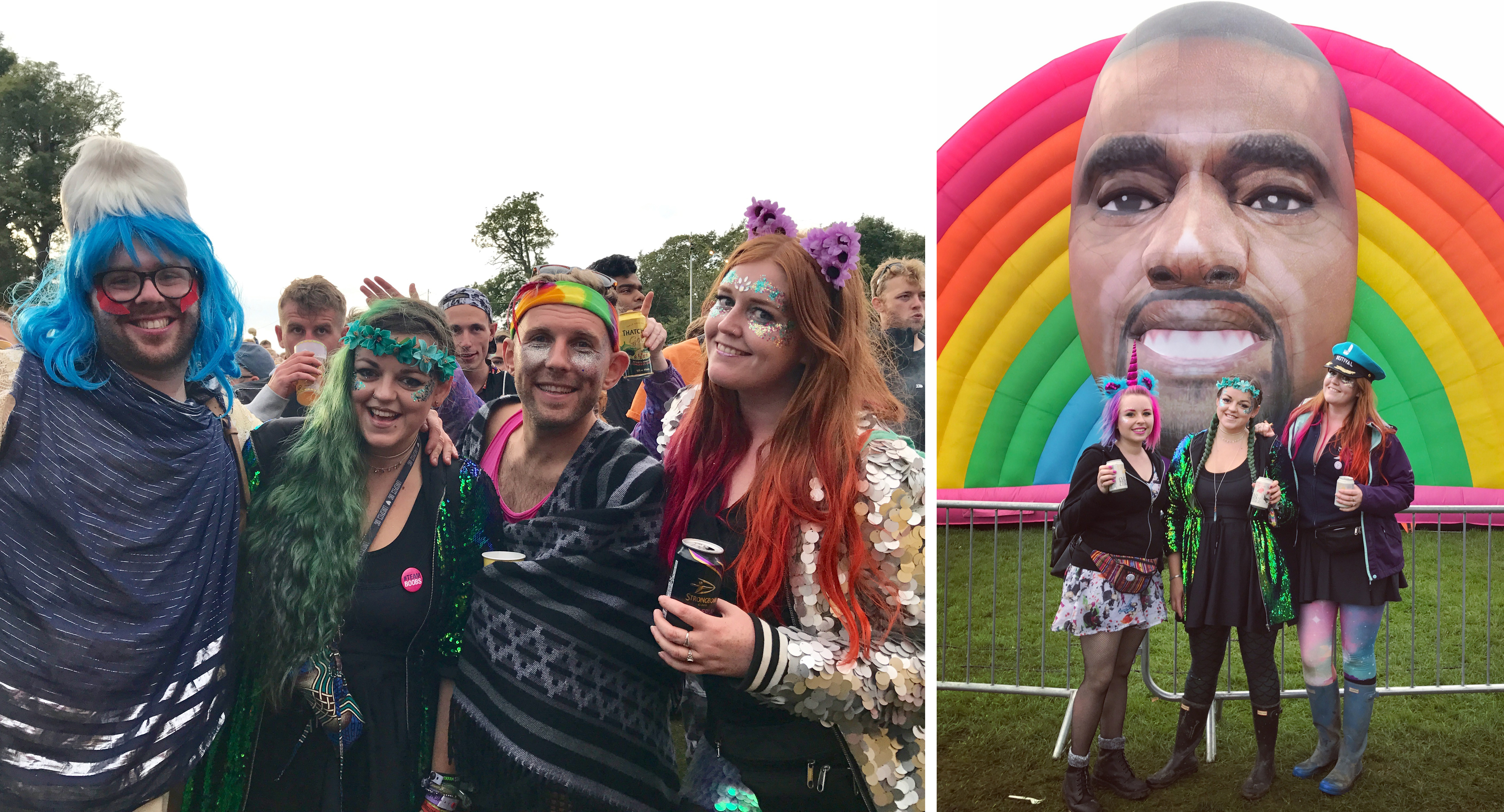 Luisa and I with glittery boys and rainbow Happy Kanye from Cool Shit UK festival