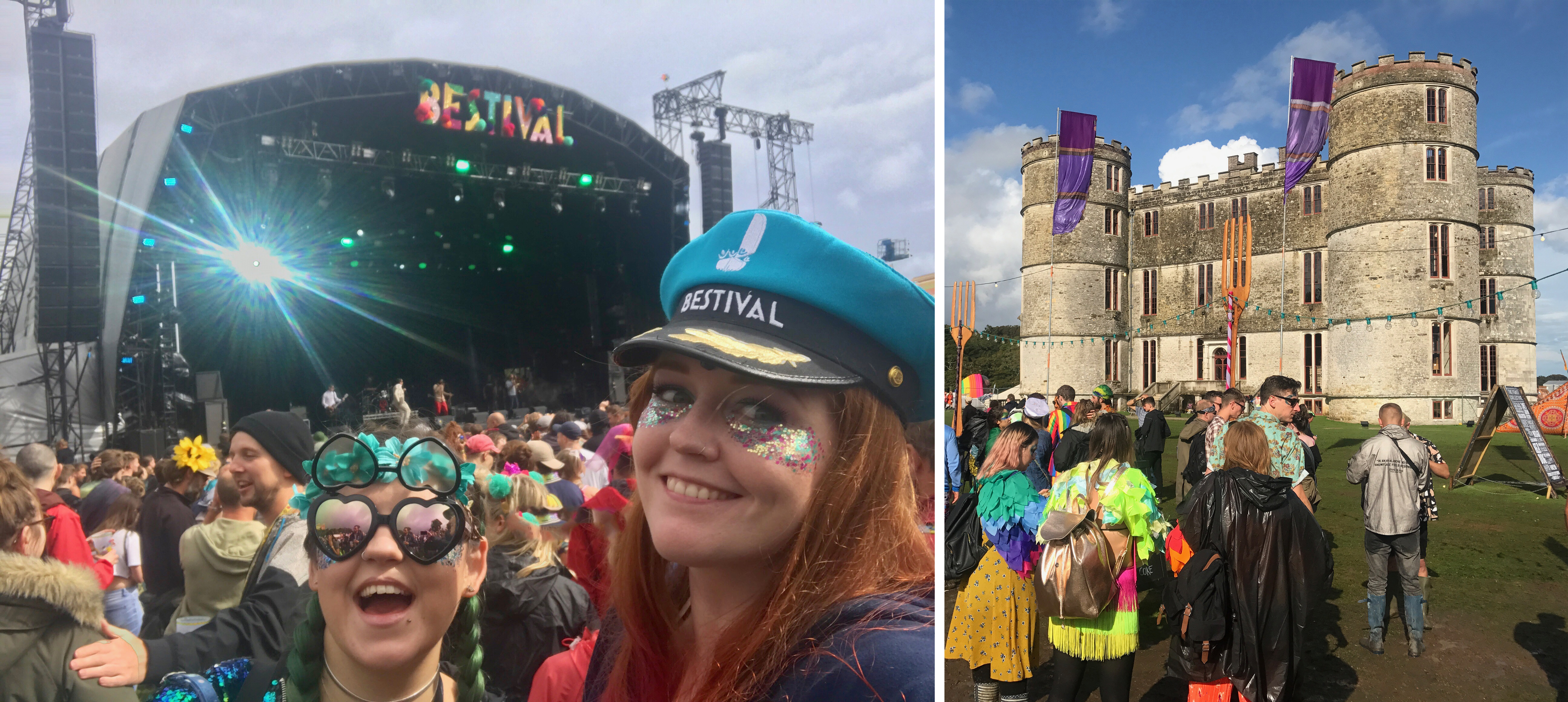 Luisa and I at the Castle Stage, wearing a Bestival captains hat. Lulworth Castle in the sunshine UK festival