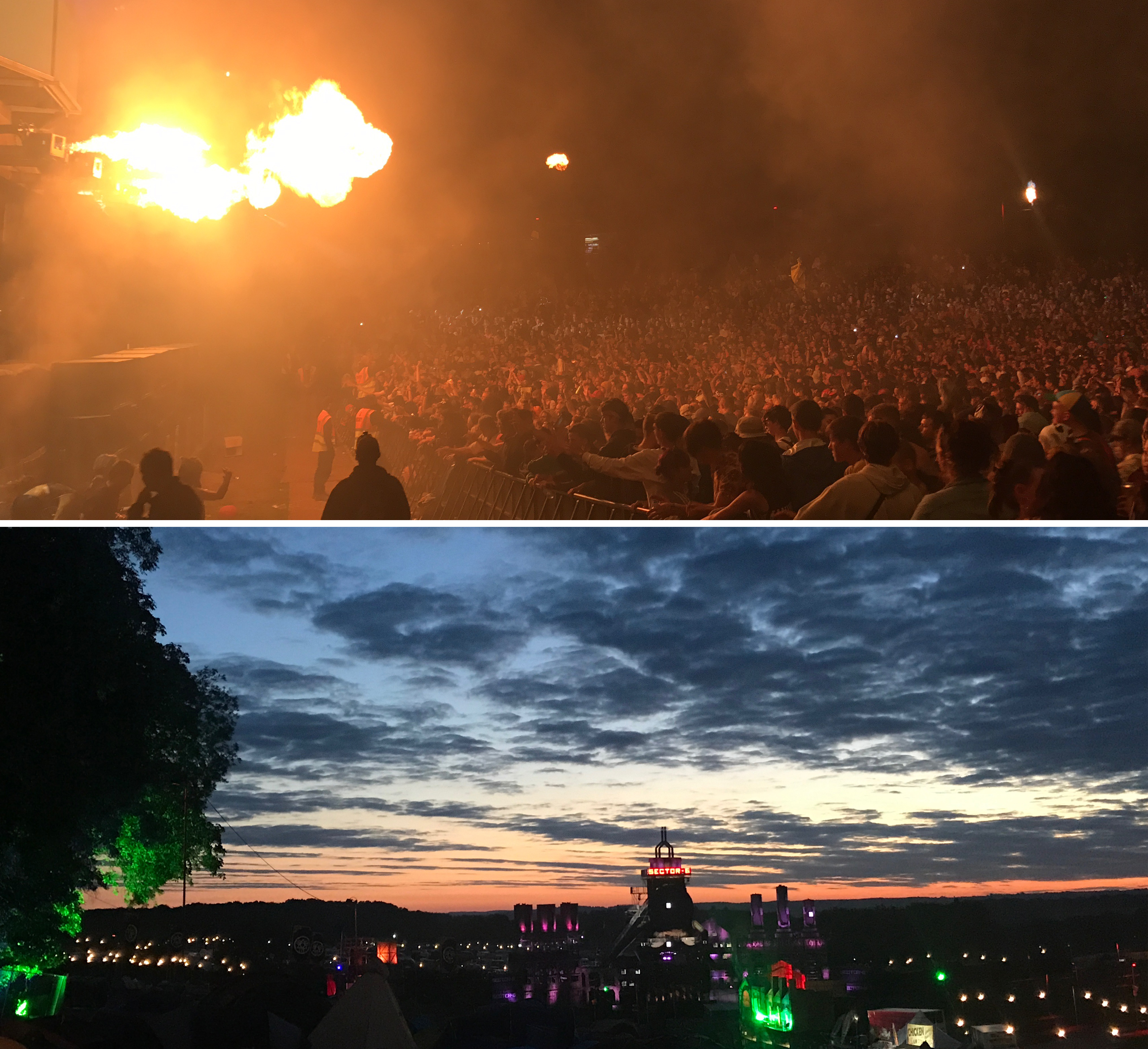 Sector 6 with flames over the crowd and the sunrise over the campsite at Boomtown Fair UK festival
