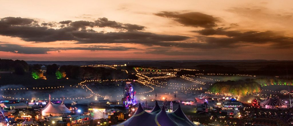Downtown at dusk, the beautiful lights of Boomtown