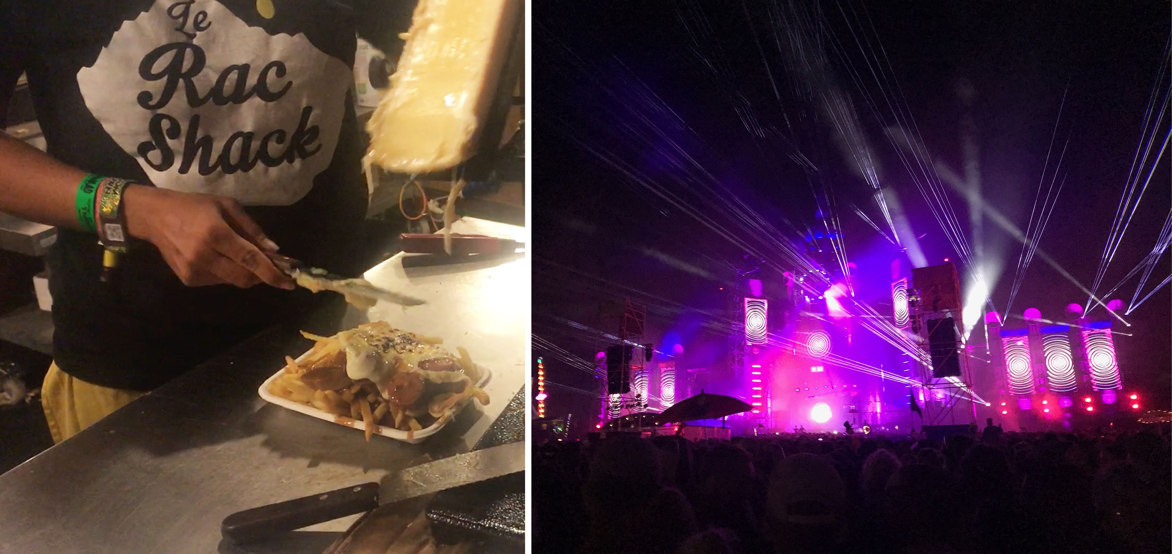 Amazing raclette on chips and sausage from the Rac Shack, and the incredible Bang Hai Towers UK festival food