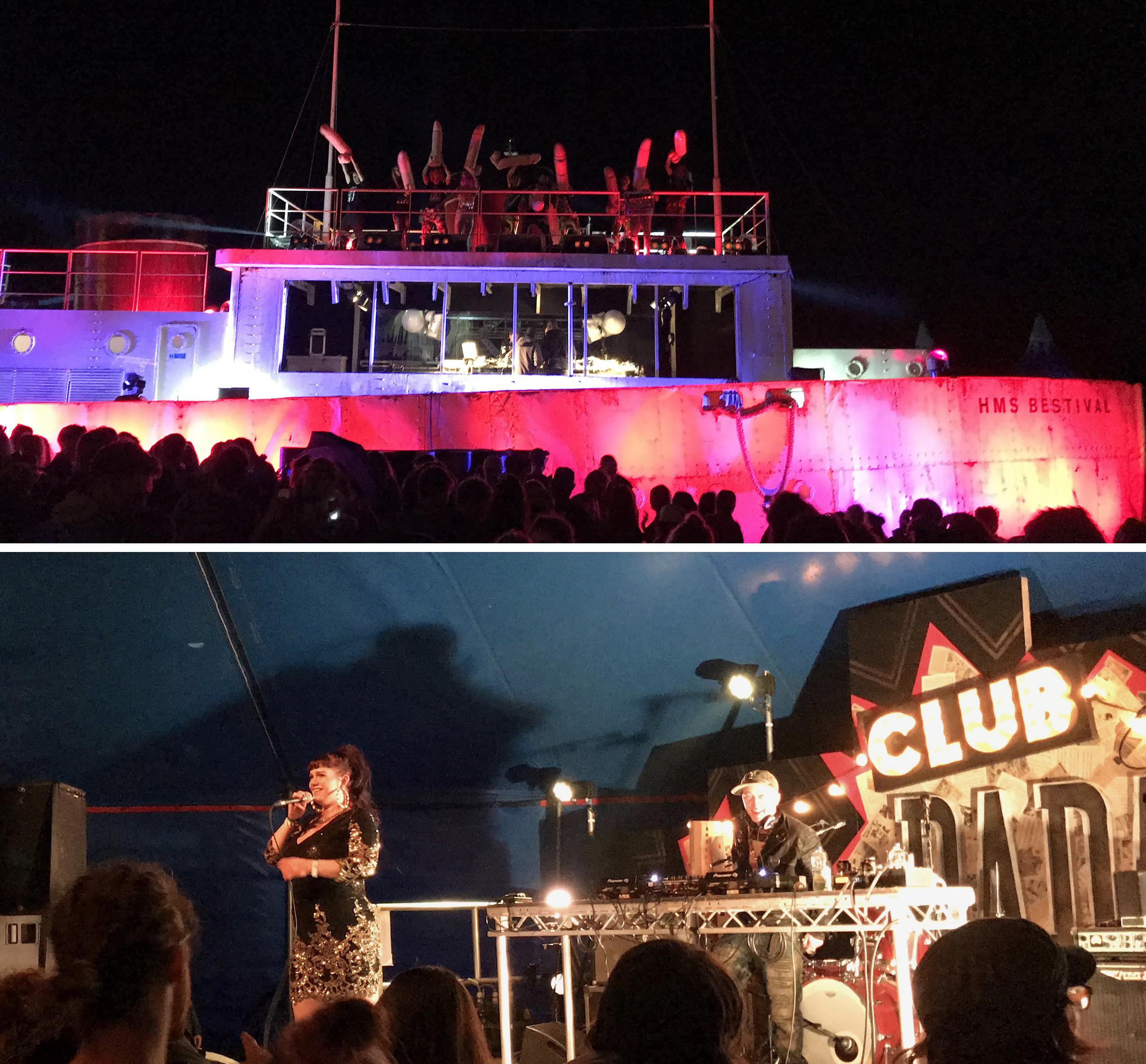 Hard Cock Life at HMS Bestival inflatable penis boat stage, Kathika Rabbit of Slamboree Soundsystem vocals at Club Dada UK festival