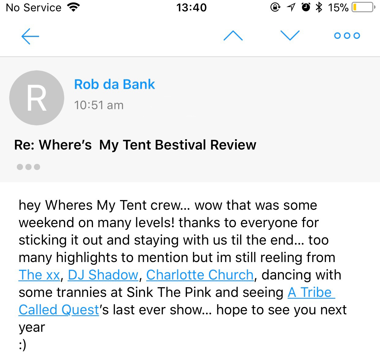 Quote from Rob Da Bank for Where's My Tent about his Bestival highlights