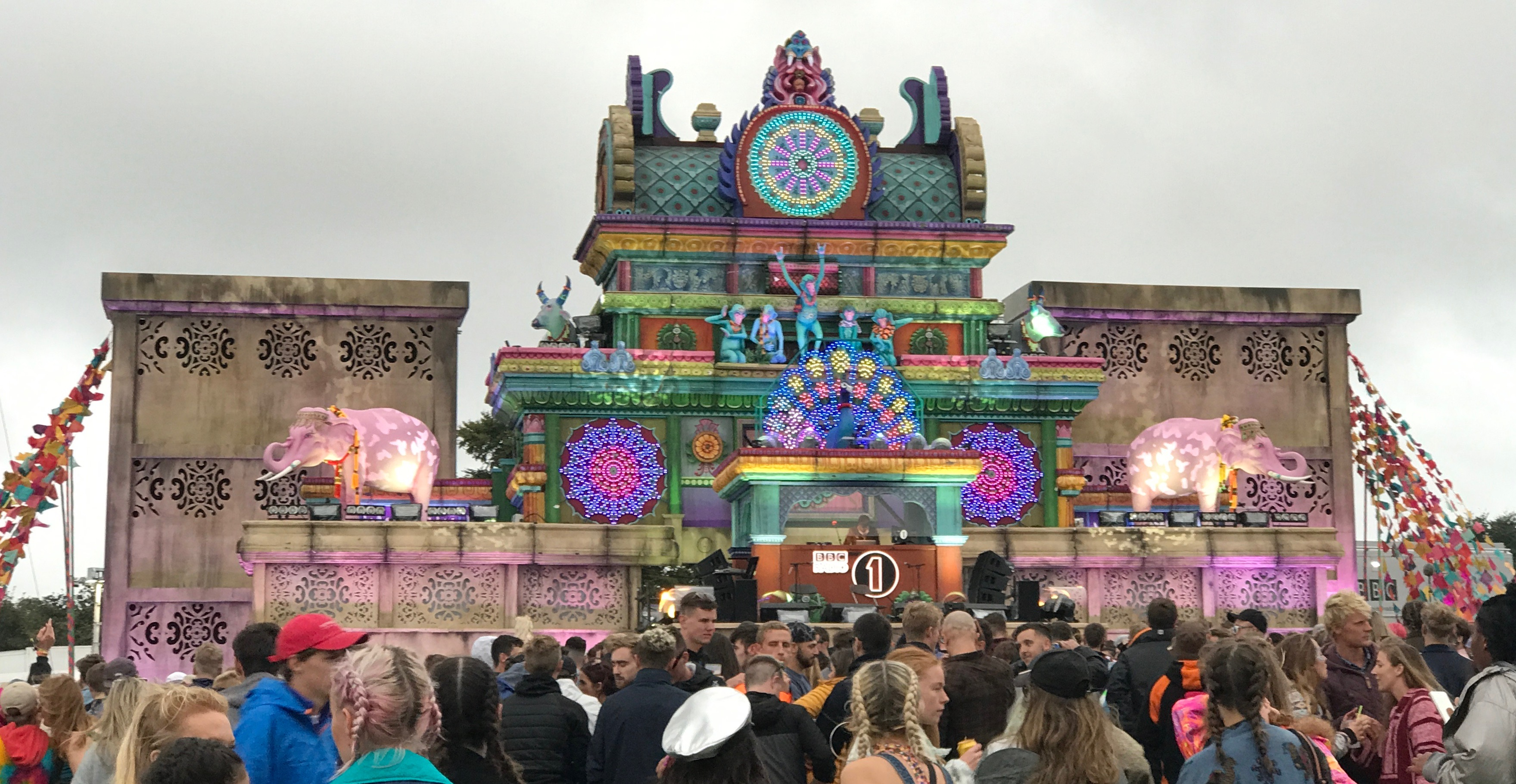 The colourful Bollywood themed Temple Stage at Bestival with Annie Mac live broadcasting on Radio 1 uk music festival