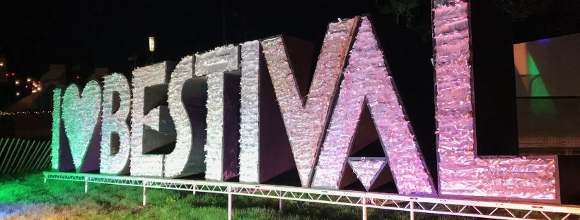 Bestival sign I love Bestival glittery giant sign UK festival