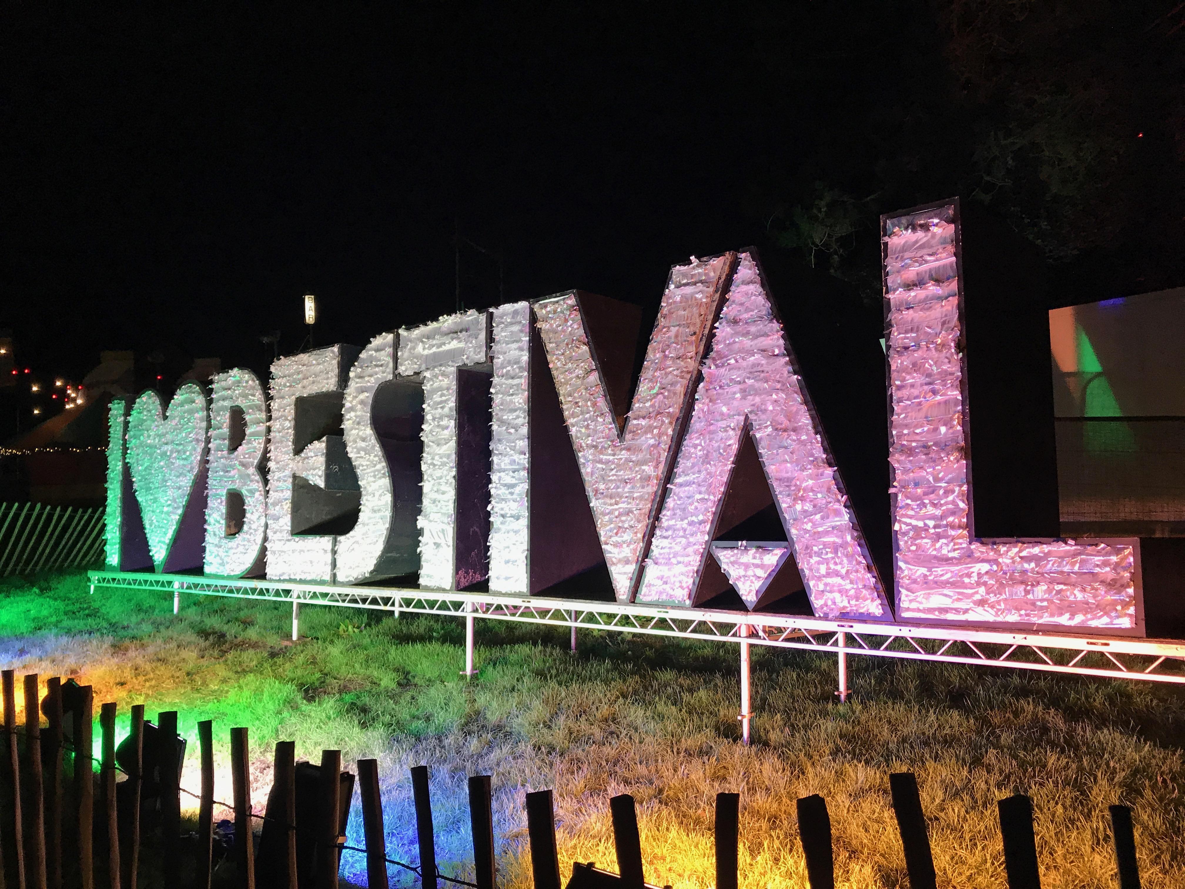 Bestival sign I love Bestival glittery giant sign UK festival