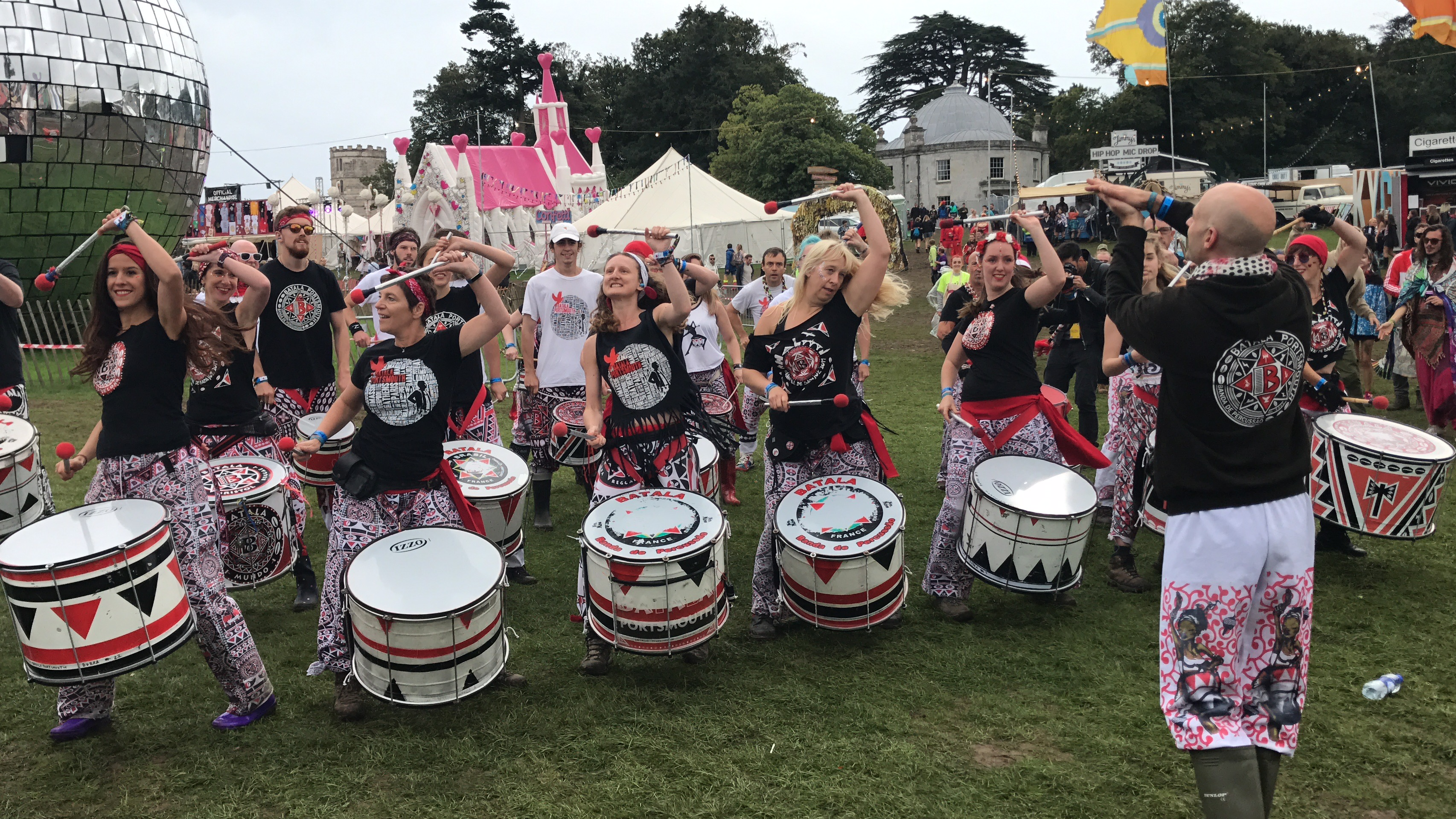 Batala Portsmouth doing their thing drumming at Bestival UK festival