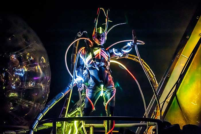 Photo credit: ETNow, Claire in her jellyfish light up Arcadia Spectacular outfit performing at Glastonbury festival