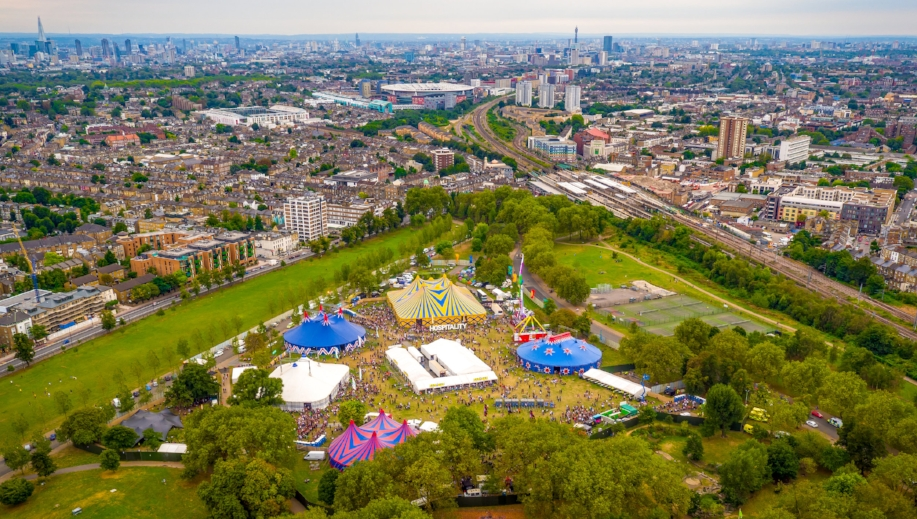 Hospitality in the Park from above drone footage drone photo site UK festival