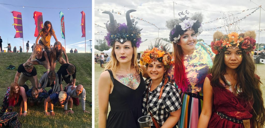 My gang and I form a human pyramid on the grass of Secret Garden Party, and my three girls and I wear our Headspace Headdresses and lots of glitter for our first day at the festival
