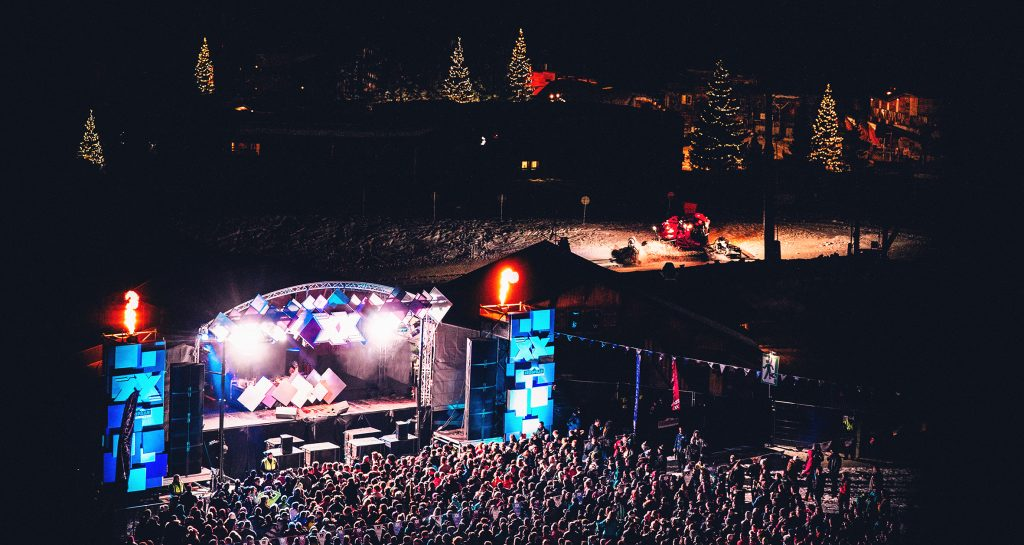 View of the Snowboxx Main stage during the headliner overlooking the slopes