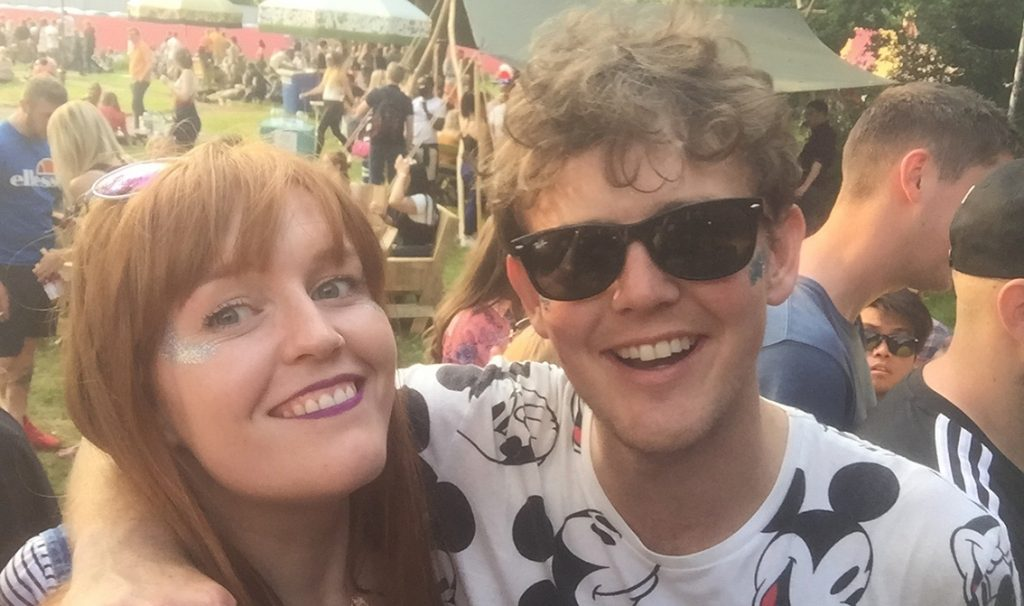 Stafford and I smiling at Bestival 2015 at a sunny festival
