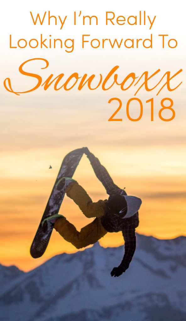 Pinterest share image: snowboarder jump with grip silhouette over sunset at Snowboxx with blog title on top