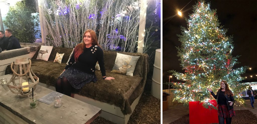 Me sat on a fur covered sofa at Winterland in Fulham, and at Winterville in front of their giant festive Christmas tree