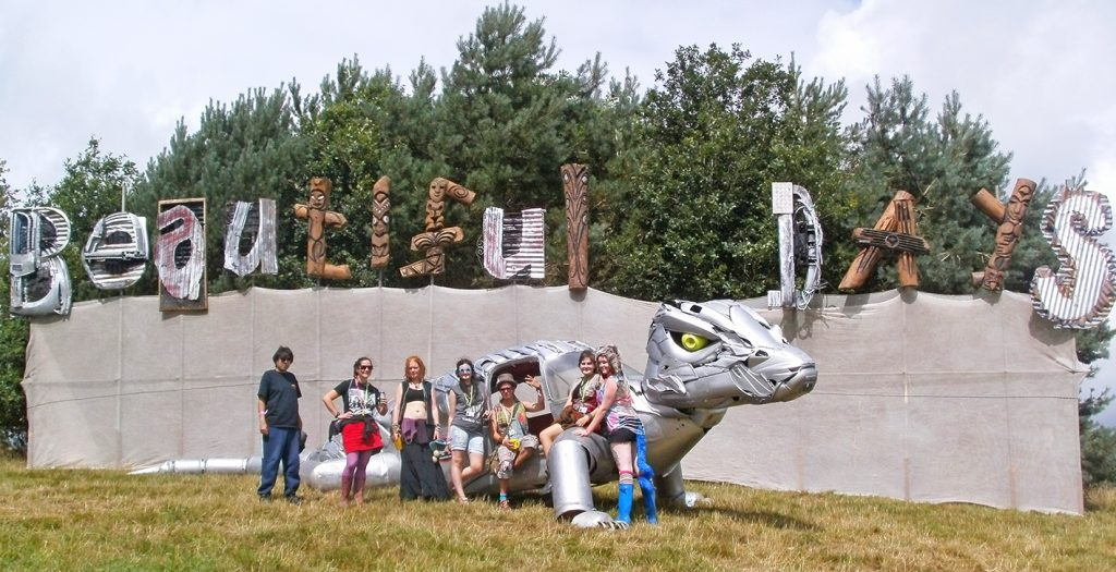 The Beautiful Days festival sign with my friends and I. South West Exeter festival