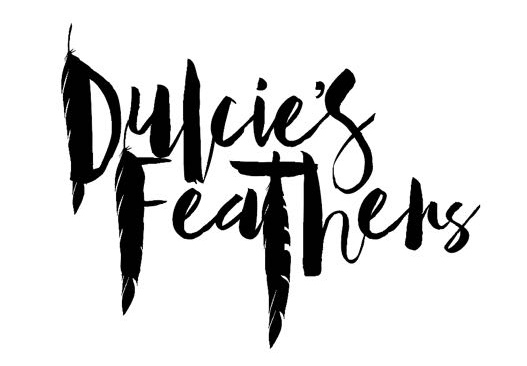 Black on white logo for Dulcie's Feathers festival fashion and festival wear.