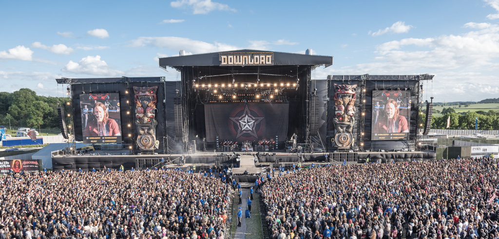 Aerial shot of the Download festival main stage Donington rock festival