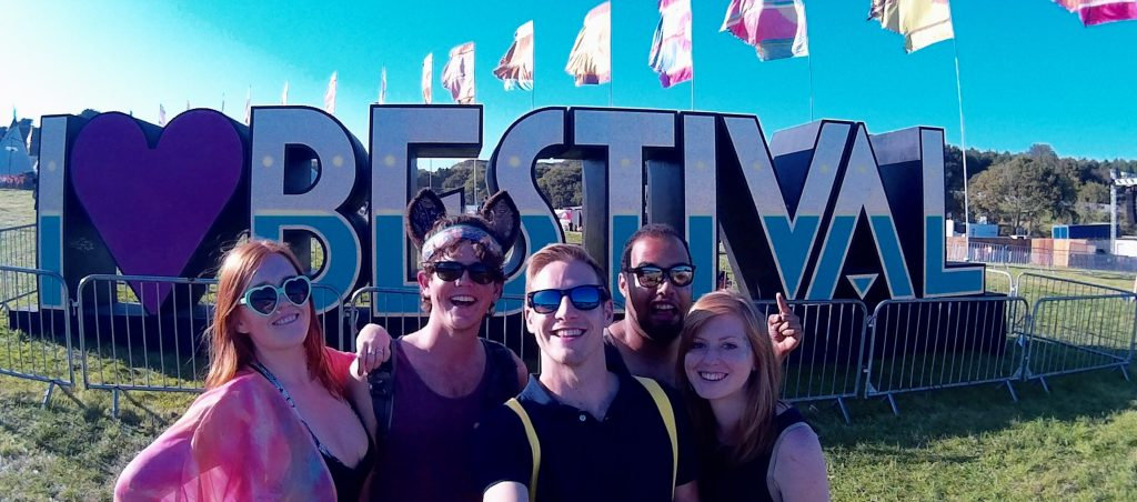 My friends and I in front of the Bestival sign in the beautiful sunshine. This could be your first festival
