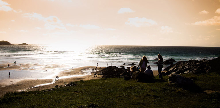 The view of Fistral Beach from Boardmasters beach surfing festival