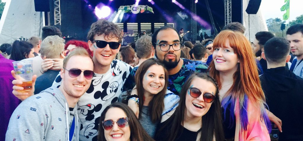 My friends and I in front of the Common People main stage in Southampton (day music festival)