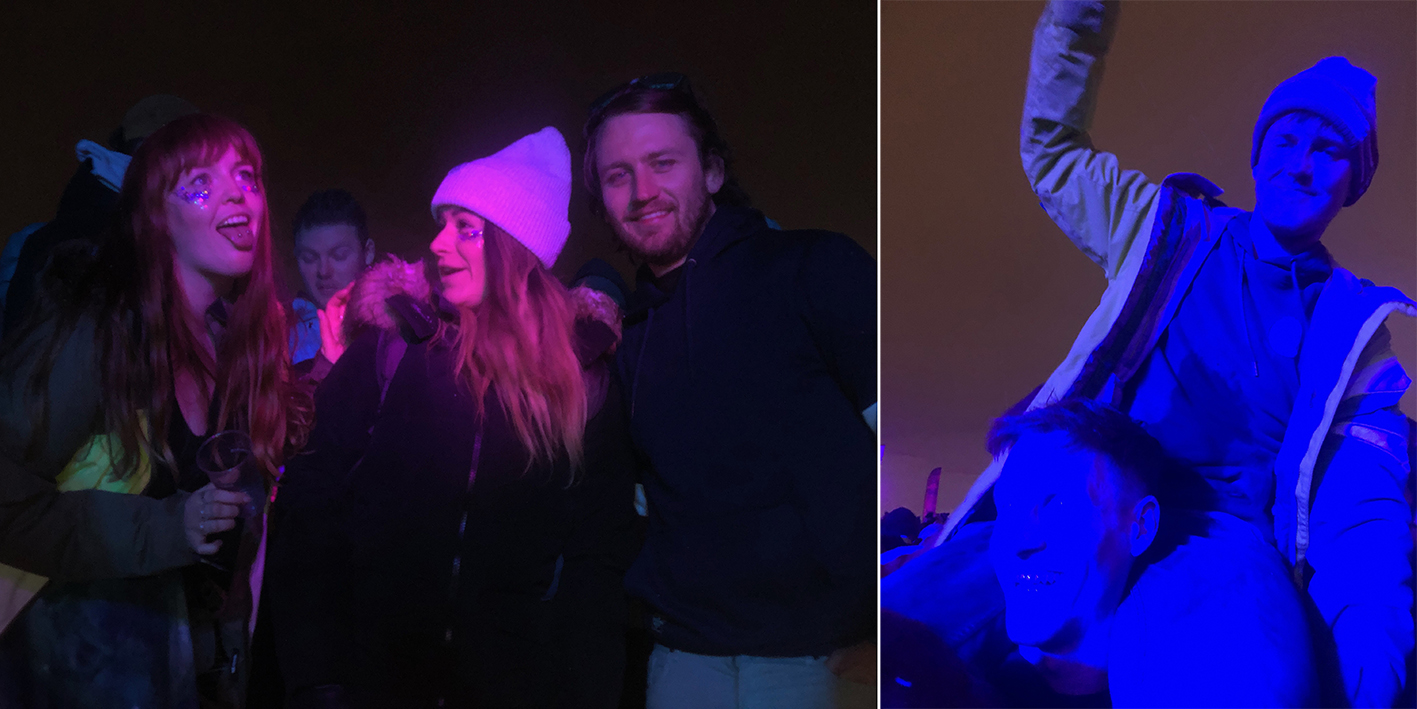Harriet and I in the crowd at the main stage for Fat Boy Slim, and Stafford bathed in blue light on Andy's shoulders, arms in the air at Snowboxx snow festival