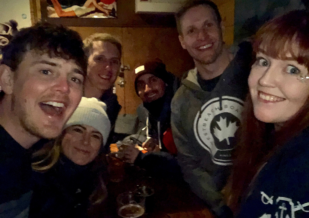 A blurry selfie of my group at The Place bar in Downtown Avoriaz