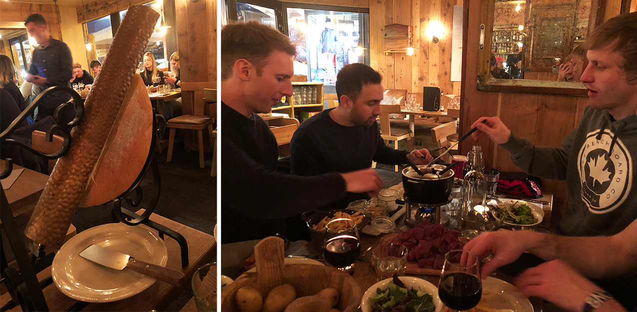 On the right is the raclette wheel of cheese with the heat lamp and scraper, and on the left, the boys and their beef fondue