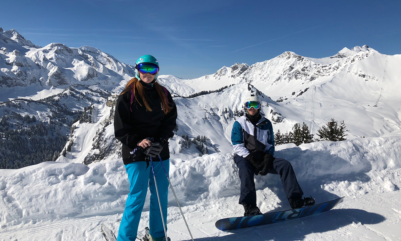 Andy and I overlooked a gorgeous view of Switzerland after some incredible runs on that morning with clear blue skies (Snowboxx, Avoriaz)