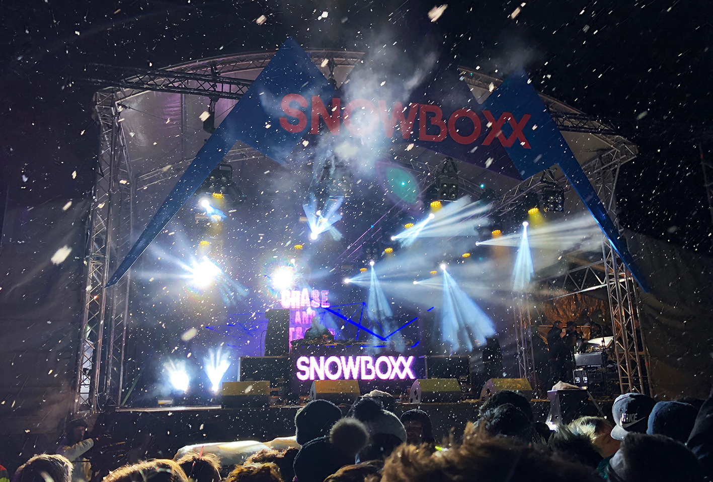 Chase and Status blasting out bass in the heavy snow on the final night of Snowboxx festival 2018