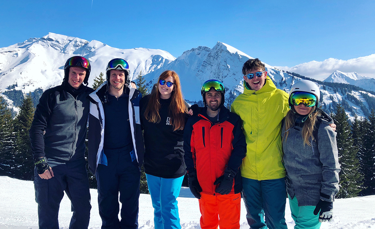 The six of us pose for our final group shot of the week in glorious sunshine with beautiful mountain backdrop