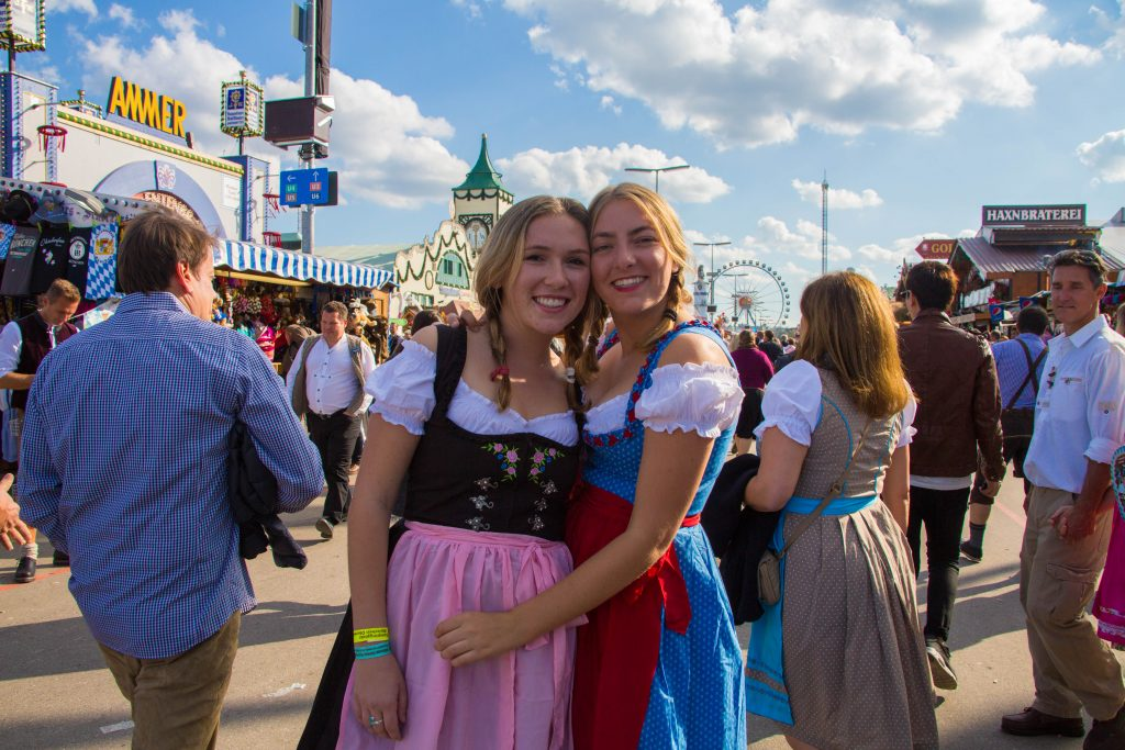 Bailey and friend dressed up with hair in plaits for Springfest in Munich, similar to Oktoberfest