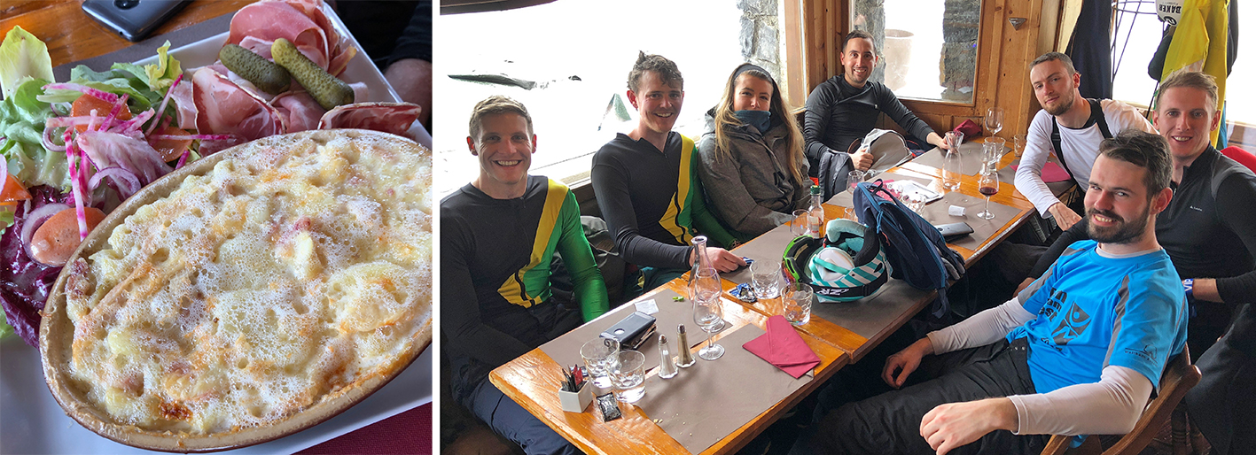 The incredible tartiflette one of my friends had, and the whole gang after a great dinner at Pizza Falaise, Avoriaz