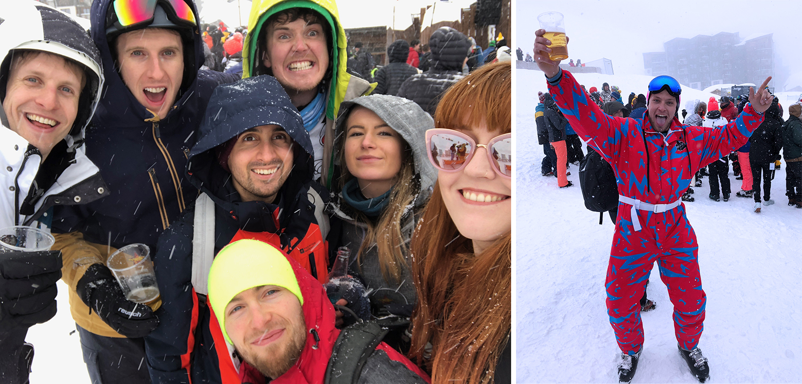 A group selfie in the snow, and a very enthusiastic skier in a fantastic retro blue and red onesie posing with a beer