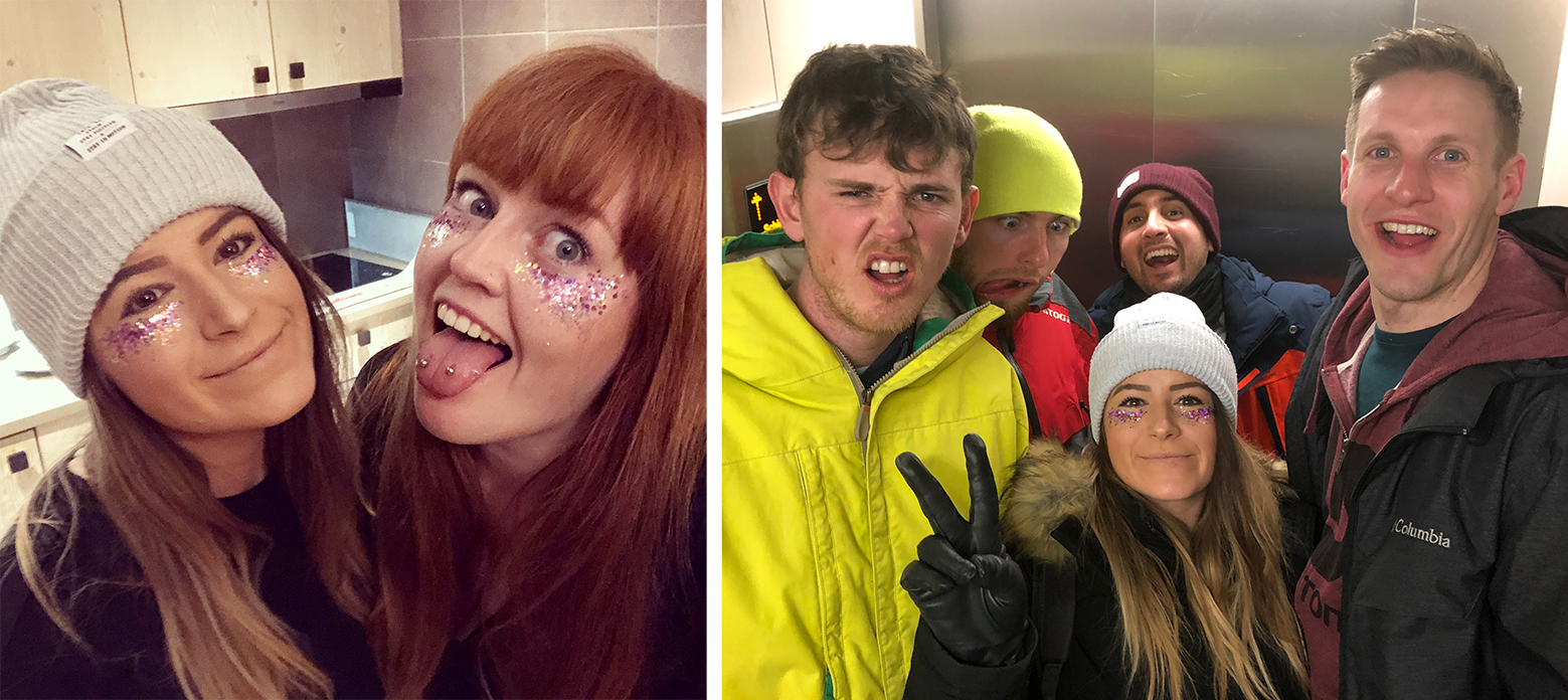 Harriet and I with our glitter on pulling face in the apartment kitchen, and the whole gang in the lift on the way out to the festival (Snowboxx, Avoriaz)