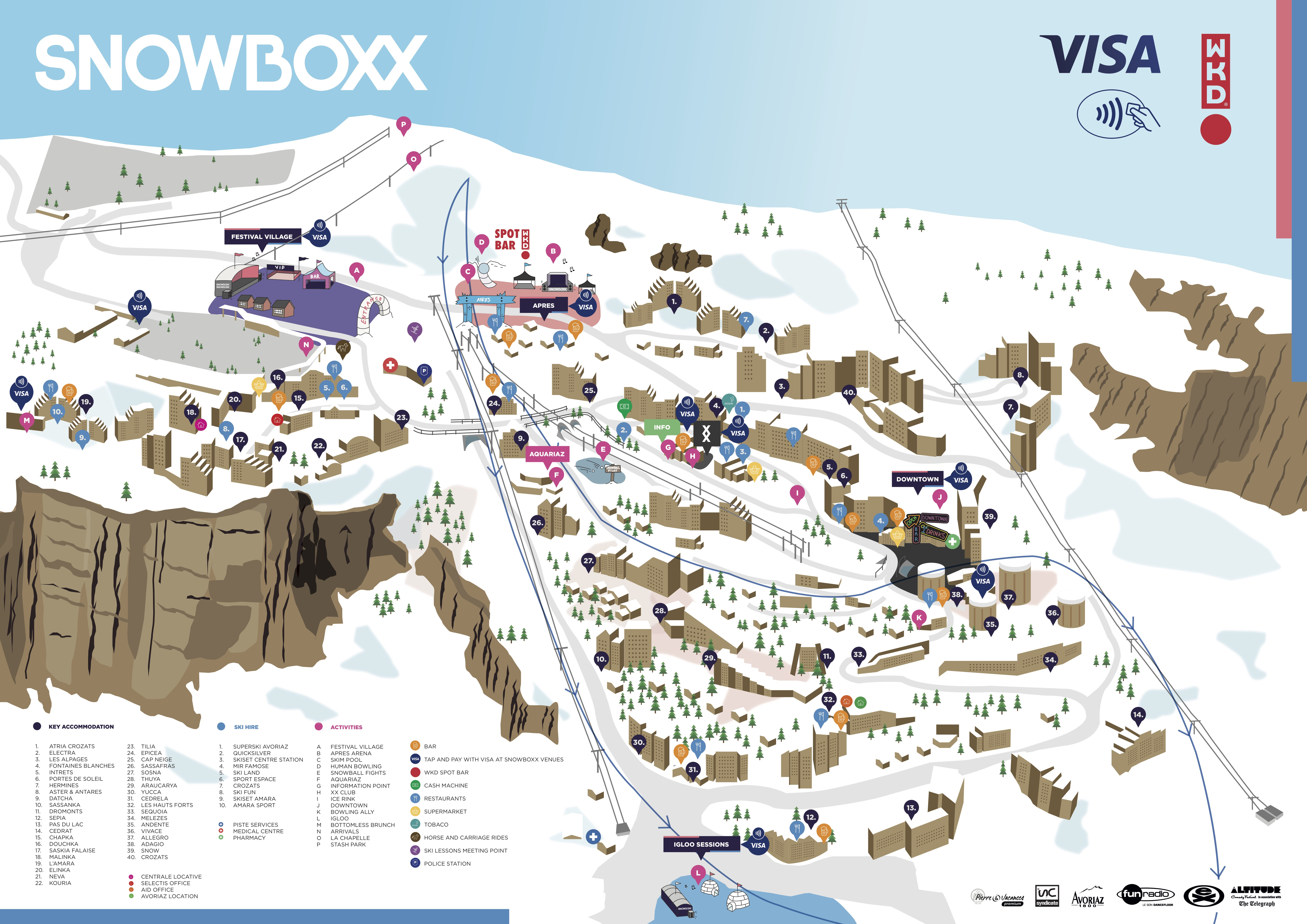 The official map of the Avoriaz resort with Snowboxx festival locations and accommodation