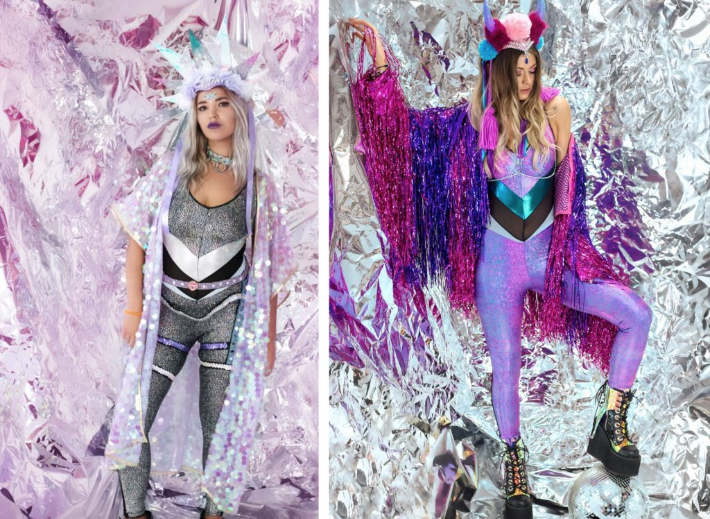 Rosie Dwyer wearing Burnt Soul catsuits in silver and purple matching Headspace Headdresses