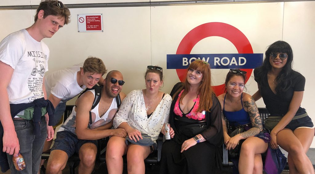 My glitter festival squad and I at Bow Road station waiting to board the tube to Upminster