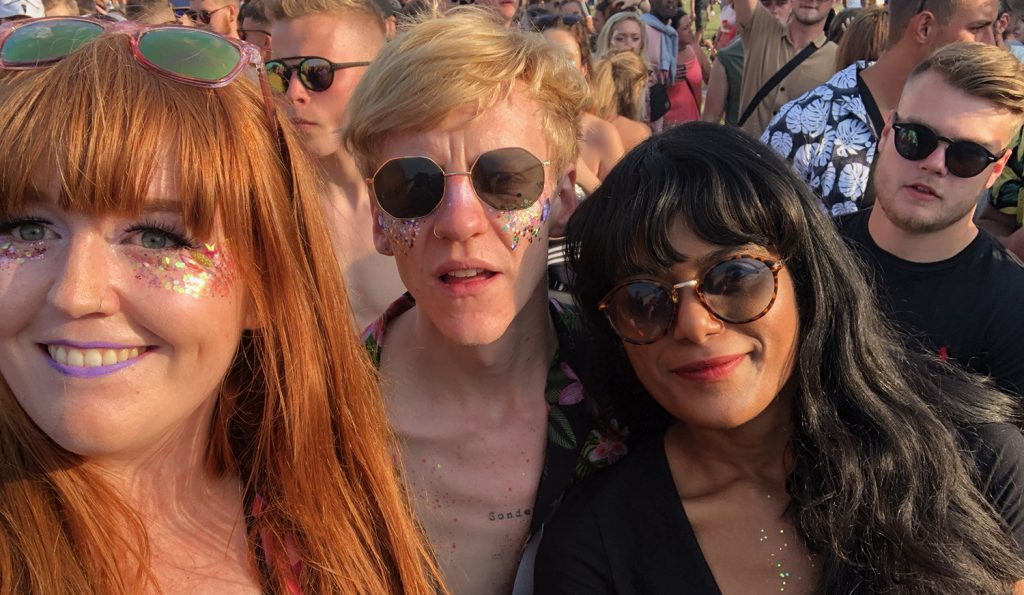 A selfie of Thom, Laurie and I in the evening sunshine wearing lots of glitter!